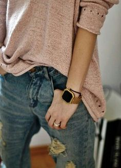 """""""casual loose pink sweater, ripped jeans, and accent bracelet watch."""", """"Oversized and comfy. love the bracelet/watch, distressed jeans and the color/t"""