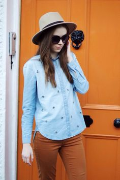 Denim shirt & fedora hat #fbloggers #denim #ootd #style