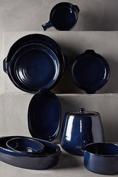loving this deep blue - perfect for my blue&white transeferware!! Glazed Terracotta Bakeware - anthropologie.com