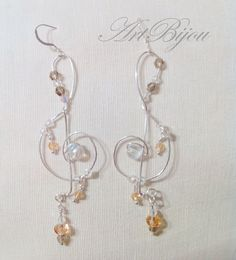 Silver Earrings Crystal Earrings Treble Clef by ArtBijouStore
