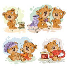 Set of cute teddy dear vector material 04