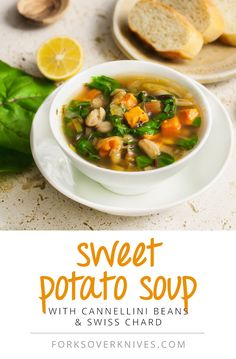Sweet Potato Soup With Cannellini Beans and Rainbow Chard