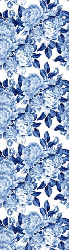 Removable Wallpaper Mural Peel & Stick Self Adhesive Wallpaper Blue Peonies Flowers Chinoiserie Style