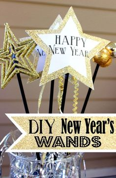 New Year's Eve Wands and Noisemakers for Kids - SohoSonnet Creative Living Kids New Years Eve, New Years Eve Party, New Year's Eve Crafts, Crafts For Kids, Nye Party, Party Time, Christmas And New Year, Christmas Crafts, Xmas