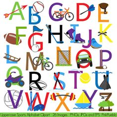 Our Sports Alphabet includes 26 PNG files with transparent backgrounds, 26 JPG files with white backgrounds and 1 Adobe Illustrator vector file. All