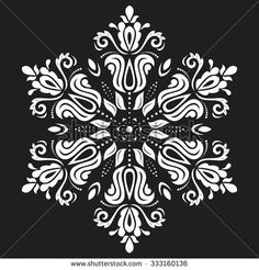 Oriental vector white pattern with arabesques and floral elements. Traditional classic ornament