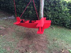 Wooden airplane swing for twins