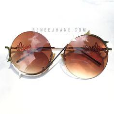 Brown Ombré Lens Sunglasses. Half Gold Frames