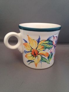 """Fiesta® """"Seasons of Fiesta"""" Ring Handle Mug made by Homer Laughlin China Company.   """"Seasons of Fiesta"""" decal was produced in 2000 and has been discontinued 
