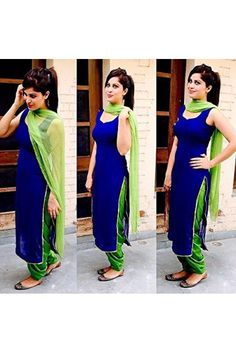 Designer Lastest New Blue & Green Cotton Salwar Suit