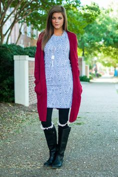 """Don't get lost in the maze that is fall fashion! Take this simple, comfy dress, add any cardigan and leggings, throw on your boots and, voila! Perfect autumn OOTD.   Bra-friendly! Material has fair amount of stretch.  Miranda is wearing the size extra small.   Length from shoulder to hem: XS- 33""""; S- 34""""; M- 35""""."""