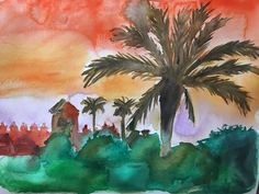 Marokko palm trees sun beautiful sky holiday Africa watercolor painting