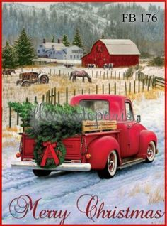 Red Pickup Truck Merry Christmas Farm House Flag - Colorfast, Durable for sale online Christmas Red Truck, Christmas Farm, Christmas Scenes, Rustic Christmas, Winter Christmas, Primitive Christmas, Christmas 2017, Christmas Pics, Primitive Crafts