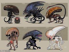 Evolution of the Xenomorph in Alien movies. Artist: The Art of Jeff Victor Alien Vs Predator, Predator Alien, Aliens Funny, Aliens Movie, Chibi, Alien Films, Concept Art Alien, Giger Alien, Alien Isolation