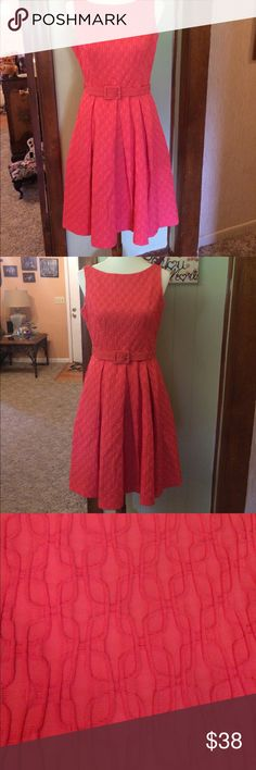 Salmon color dress 👗 Beautiful salmon color dress with embossed fabric and a fabulous lining. Very well mad item!!! This dress is too cute!  This dress comes with a belt and has a zip and hook at the back of neck. Great for spring or summer as well as a great work office option. Add some color to your wardrobe today! Muse Refined Dresses Midi