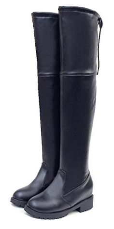 SATUKI Womens Teen Girls Mid Hidden Heel Over Knee Riding Knight Boots Shoes 55 Black cotton lining >>> For more information, visit image link.(This is an Amazon affiliate link and I receive a commission for the sales)