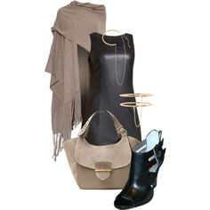 Sleeveless black leather fitted bodycon dress Stacked heel ankle strap black leather open toe bootie pumps Pure cashmere fringed beige wrap shawl. Find them at http://www.solepursesuit.com.  Find this polyvore set at: http://simply-one.polyvore.com/pack_go_labor_day_luxe/set?.embedder=13739156&.src=share_html&.svc=pinterest&id=207187725