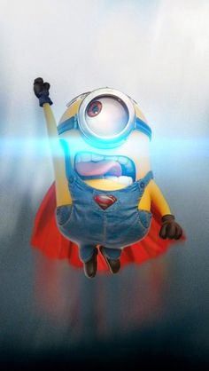 Super Minion iPhone wallpaper. Get free: https://1papeldeparedegratis.blogspot.com.br/2015/04/iphone-wallpaper-funny-minion-superman.html