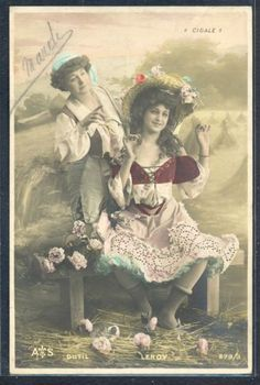 PZ004-ARTIST-STAGE-STAR-COUPLE-of-LADIES-DUTIL-LEROY-Tinted-PHOTO-pc