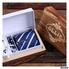 Personalized Tie Clip, Dark Blue Striped Tie & Box