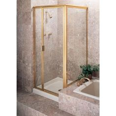 Century Bathworks at Russell Hardware Plumbing-Hardware-Showroom in Michigan with a variety of Kitchen and Bathroom products including Corner Shower Enclosures in a Gold finish Square Shower Enclosures, Glass Shower Doors, Sliding Doors, Plumbing, Clear Glass, Showroom, Chrome, Hardware, Gold