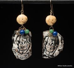 Le Chat earrings, rustic assemblage jewelry made of organic pottery and carved bone with vintage beads and artisan ceramics, cat earrings