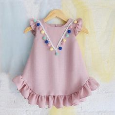 Check out my new Pretty Ruffled Short-sleeve Pompon Decor Dress for Baby Girl, snagged at a crazy discounted price with the PatPat app. Baby Girl Fashion, Toddler Fashion, Kids Fashion, Cheap Fashion, Fashion Clothes, Baby Dress Patterns, Baby Clothes Patterns, Dresses Kids Girl, Kids Outfits