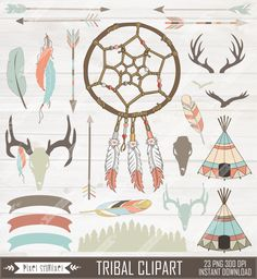Tribal Clipart, Digital Dream Catcher, Native Clip art, American Indian Clipart, Hipster, Teepee, Feathers, Skulls, Arrow Clipart by PixelShmixel on Etsy