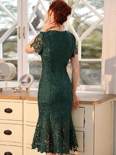 Buy Embroidery Slim Lace Short Sleeve Mermaid Bodycon Dress, Fashion Designed Embroidery Slim Lace Short Sleeve Mermaid Bodycon Dress with High Quality and Low Price. Dress Brukat, Lace Top Dress, Green Lace Dresses, Short Lace Dress, Lace Dress With Sleeves, Elegant Dresses, Pretty Dresses, Bodycon Dress, Filipiniana Dress