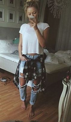 cute and edgy outfit with ripped boyfriend jeans.