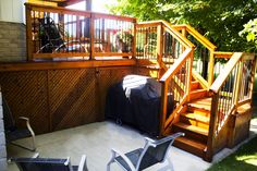 Cedar Deck - BBQ - Patio - Concrete - Black Railing - Renovations - Backyard - Catalyst Black Railing, Cedar Deck, Concrete Patio, Bbq, Loft, Backyard, Projects, Furniture, Home Decor