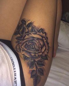 Thigh tattoo more tattoo designs, body art Dope Tattoos, Cute Thigh Tattoos, Flower Leg Tattoos, Rose Tattoo Thigh, Thigh Tattoo Designs, Feather Tattoos, Trendy Tattoos, Unique Tattoos, Body Art Tattoos