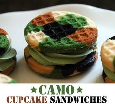 Camo Cupcake Sandwiches.  Less interested in camo food, more interested in waffle iron cupcake sandwiches?! What?!!?