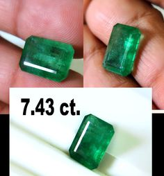 7.43 Ct. Museum Fine Natural Green Colombian Emerald Cut For Gold Ring Pendant  #SAMJEWEL