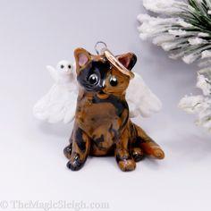 Cat Christmas Ornaments, Christmas Cats, Christmas Decorations, Piggy Bank, Porcelain, Angel, Handmade, Cat Design, Holiday Ornaments