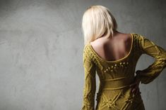 Intricate yellow done right. Cotton cable hand knitted dress in mustard by Muza on Etsy, $450.00