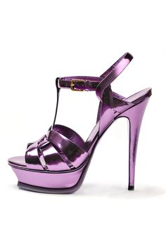 fall 2012, Yves Saint Laurent, shoes, high heels, platforms, sandals, metallic, purple