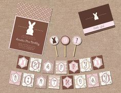 Pink and Brown Bunny Themed Birthday Party Package #birthday #package #bunny #rabbit #pink #brown