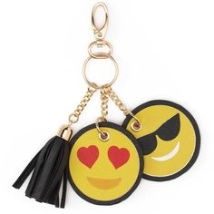 Under One Sky Emoji Key Chain ($20) ❤ liked on Polyvore featuring accessories, drk yellow, fob key chain, heart key ring, key chain rings, tassel key ring and ring key chain