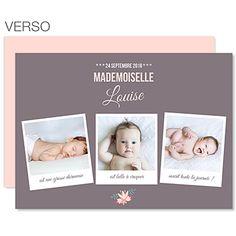 Faire-part Naissance Fille - Poses bébé - 0