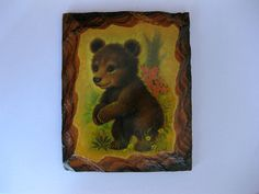 Vintage Baby Bear Wall Plaque Sweet Wooden Wall by fleurzart, $10.00