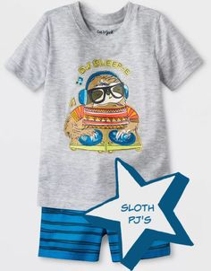 Drift off to sleep with DJ Sleep E! Super cute summer pajamas for toddlers. Baby Sloth, Cute Sloth, Toddler Pajamas, Pajamas Women, Pyjamas, Pjs, Sloth Pajamas, Sloth Sleeping, Summer Pajamas