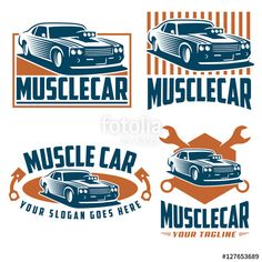 Vector: Vector pack of muscle car logo design, muscle car vector set