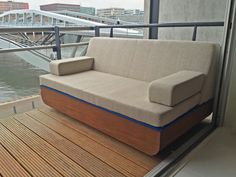 One of our clients challenged us to design a sofa for their balcony overviewing the IJ-harbor in Amsterdam. It had to be comfortable & stylish and it had to match with their blue (!) RKNL Pure media console. Mission completed! Now just sit back and enjoy the view over the harbor... #sofa #rknl