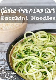 This Gluten-Free Zucchini Noodles Recipe is grain-free, low carb, & Trim Healthy Mama (S) friendly! Great substitute for pasta, and cooks up in just ONE minute!