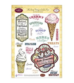 JustRite Papercraft Clear Stamp Set The Scoop Vintage Labels 4