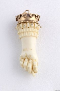 Hand Carved Ivory, Bone & 18k Yellow Gold Figa Fist Pendant 1850-80s.