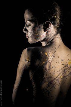 #Splattered #BodyPaint Hot & Cold Colors on face #PhotoShoot in Studio Black dark background #LSVstudio #Gold