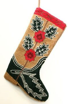 Hooked-Wool-Cowboy-Boot-Christmas-Stocking-Thistle-Design