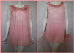 1970s Pink Baby Doll Set Nightgown Robe Panties